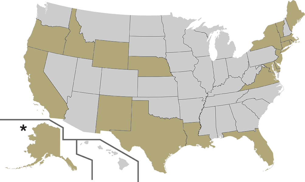 Map of American States available for delivery