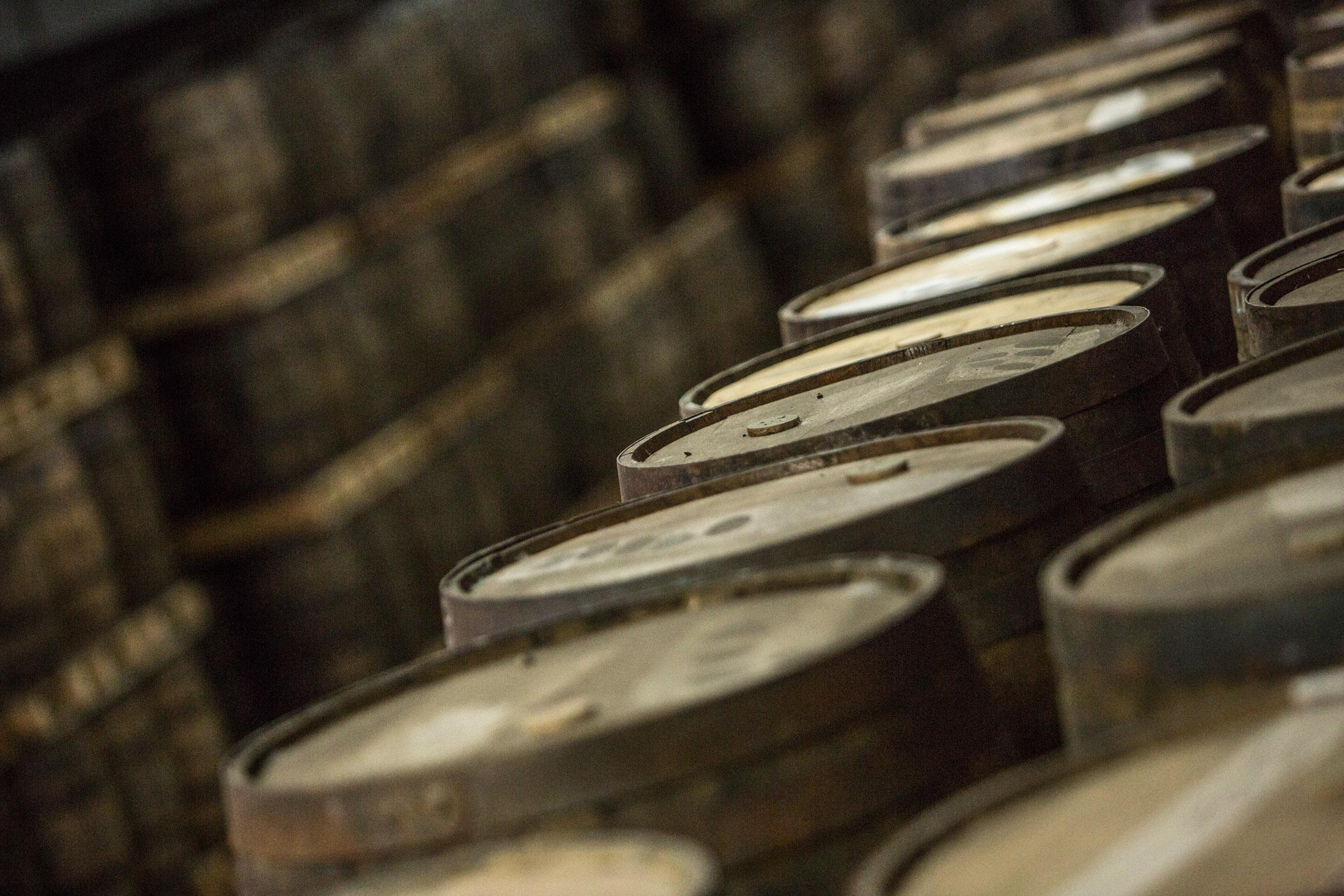 Whisky casks at Bain's Distillery