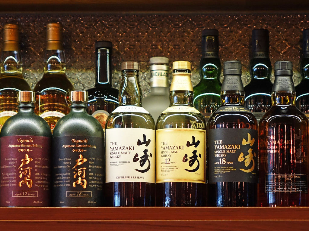 Selection of Japanese whiskies on a shelf