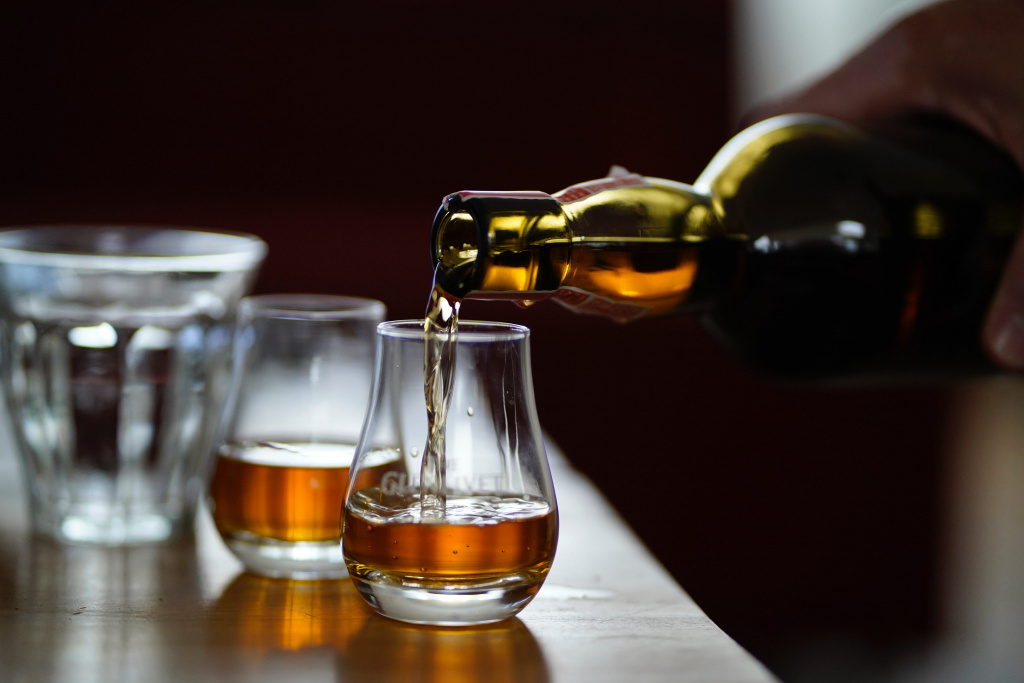 Dram of whisky being poured