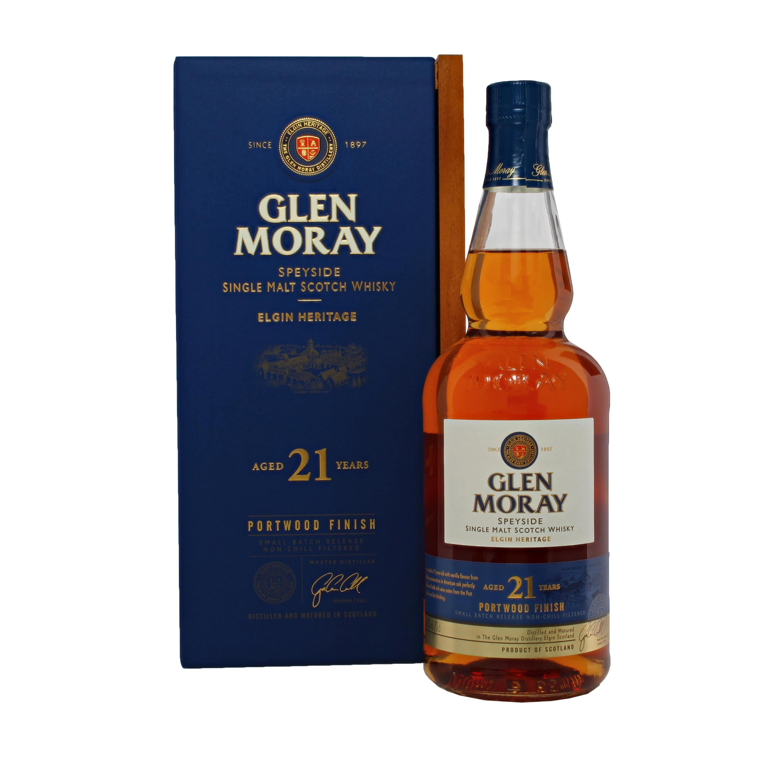 Glen Moray 21 Year Old Speyside Single Malt Scotch Whisky 70cl
