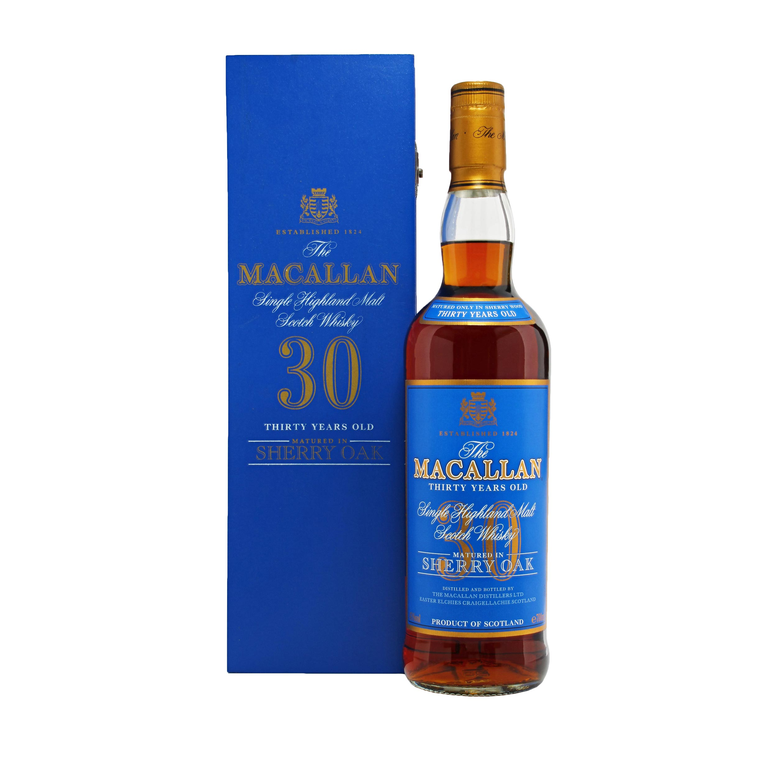 Macallan 30 Year Old Sherry Oak (Old style) Speyside Single Malt Scotch Whisky 70cl